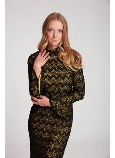 Mizalle Dantelli Desenli Uzun Elbise Yeşil
